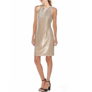 Vince Camuto Gold Sequin Sheath Cocktail Dress